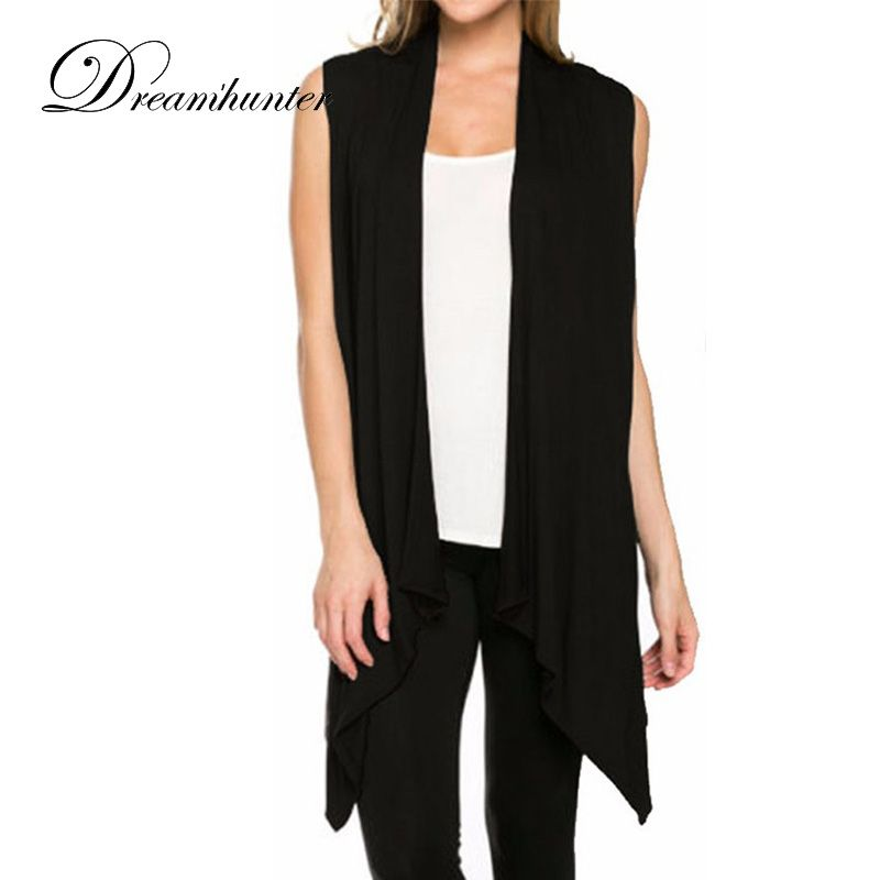 Woman Knitted Cotton Sleeveless Open Stitch Long Cardigan Scarf Collar Casual Shrug Standard Wool Bat Style Sweater Cardigans