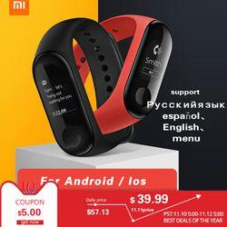 Новый Xiaomi mi группа 3 mi Группа фитнес трекер сердечного ритма мониторы 0,78 ''oled дисплей Touchpad Bluetooth 4,2 для IOS и Android