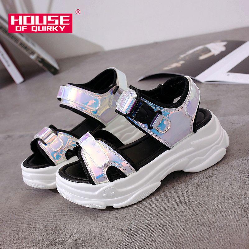 Sexy femmes sandales de Sport à bout ouvert Wedge évider femmes sandales en plein air Cool plate-forme chaussures femmes plage chaussures d'été 2019 nouveau