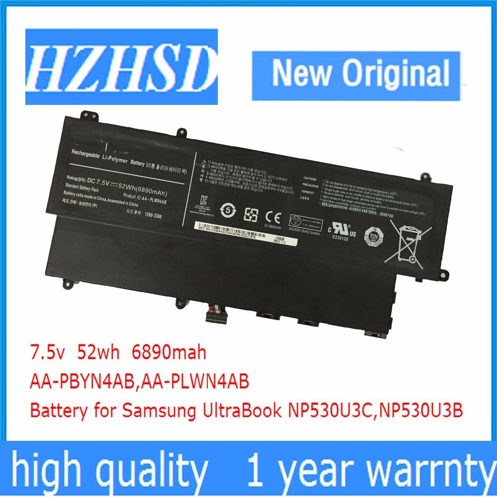 7.5V 52Wh New Original AA-PLWN4AB Laptop Battery for Samsung AA-PBYN4AB 530U3B 530U3C 535U3C 532U3X 540U3C