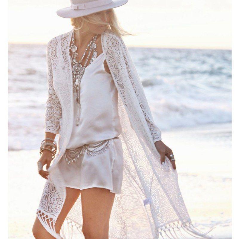 Boho femmes frange dentelle kimono cardigan blanc glands plage couverture Cape hauts Blouses damen bluze