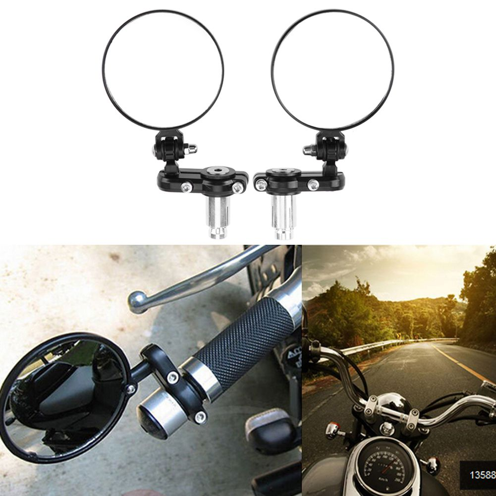 2 PCS Universal Motorcycle Rearview Mirror modified Fodable Round Bar End moto Side Mirrors for 22mm handle