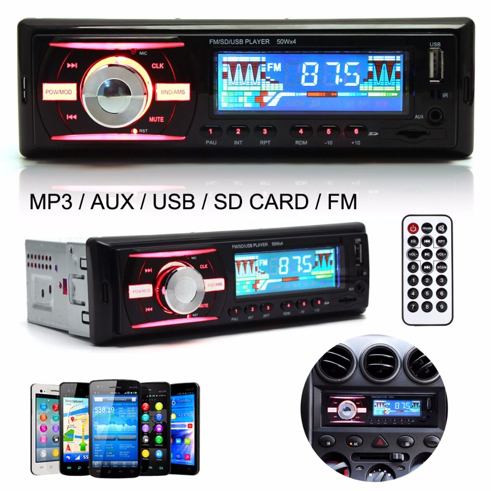 4 Channel Car Audio Stereo In-Dash 1 DIN 12V Auto Car Radio MP3 Player Support FM UPS WMA INP AUX and Clock