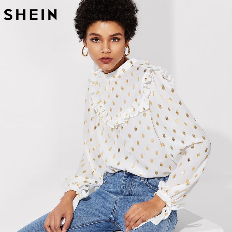 SHEIN 2018 Spring Womens Tops and Blouses Long Sleeve Stand Collar Ruffle Detail Blouse Tie Back And Cuff Gold Dot Print Top