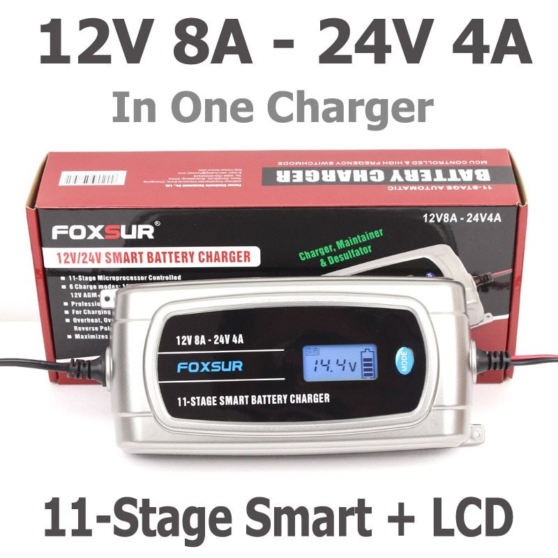 FOXSUR 12V 8A 24V 4A 11-stage Smart Battery Charger, 12V 24V EFB GEL AGM WET Car Battery Charger with LCD display & Desulfator