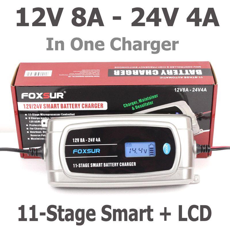 FOXSUR 12V 8A 24V 4A 11-stage Smart Battery Charger, 12V 24V EFB GEL AGM WET Car Battery Charger with LCD display & Desulfator