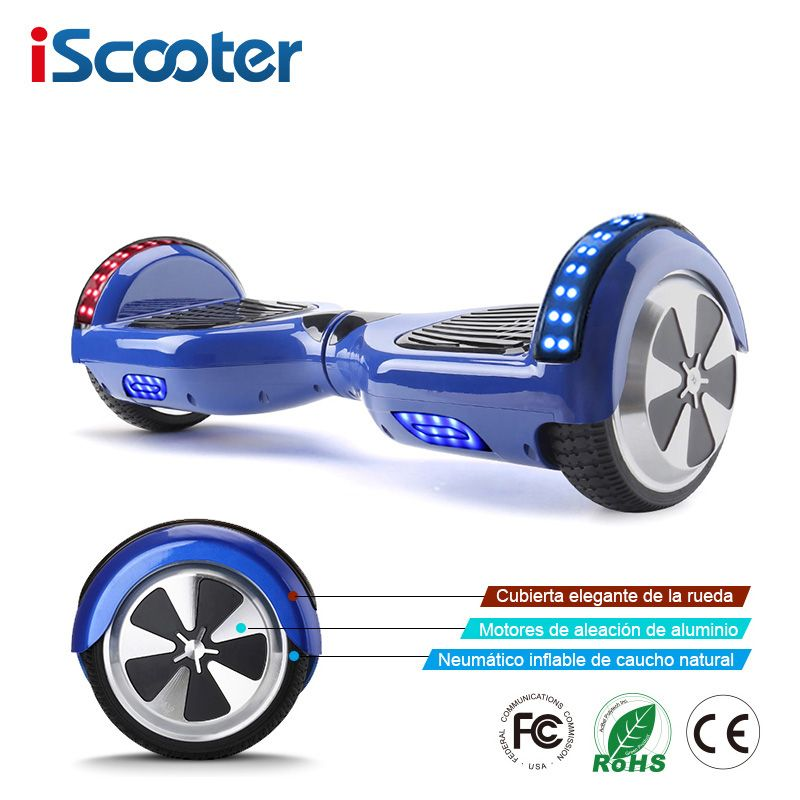 iScooter 6.5 inch 2 Wheels Smart Electric Hoverboards with Bluetooth Speaker LED Light Carrying Bag Self Balance Scooter UL2272