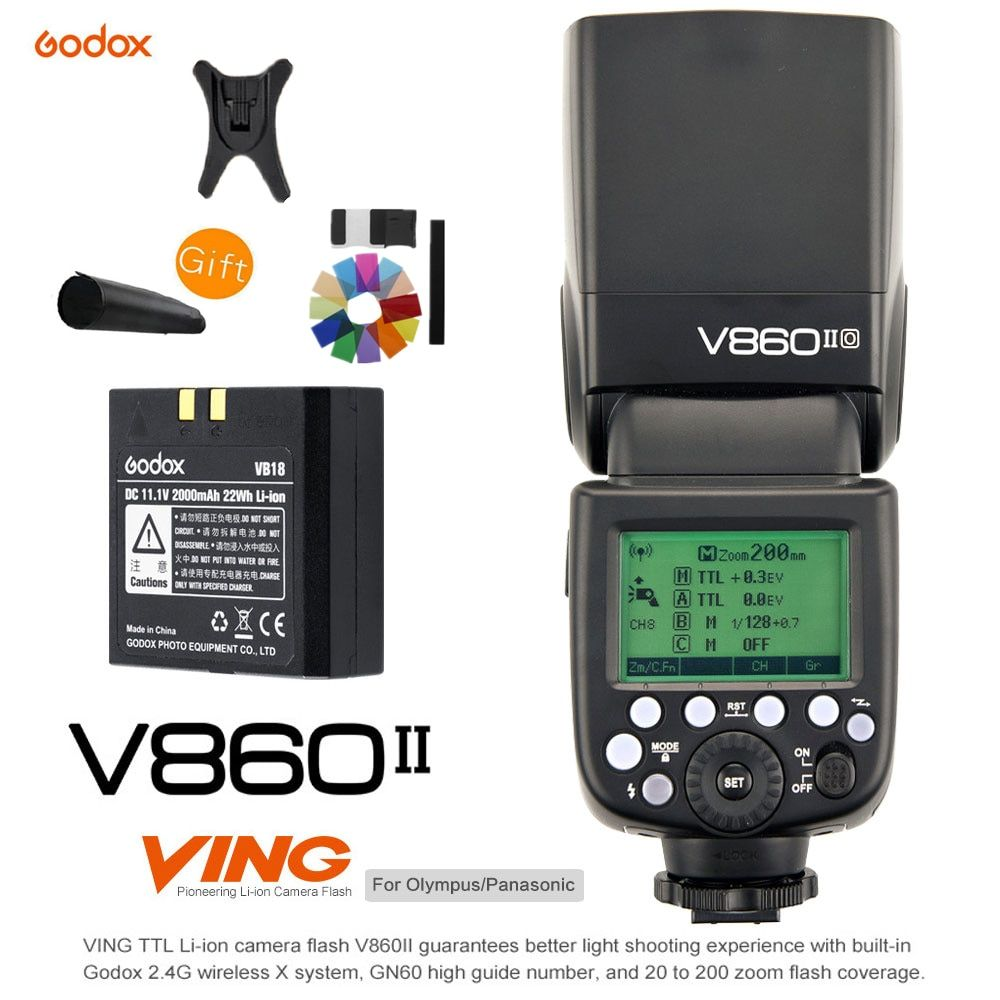 Godox V860II V860II-O TTL HSS 1/8000S Li-ion Battery Speedlite 2.4G Wireless X System Camera Flash Light for Olympus/Panasonic