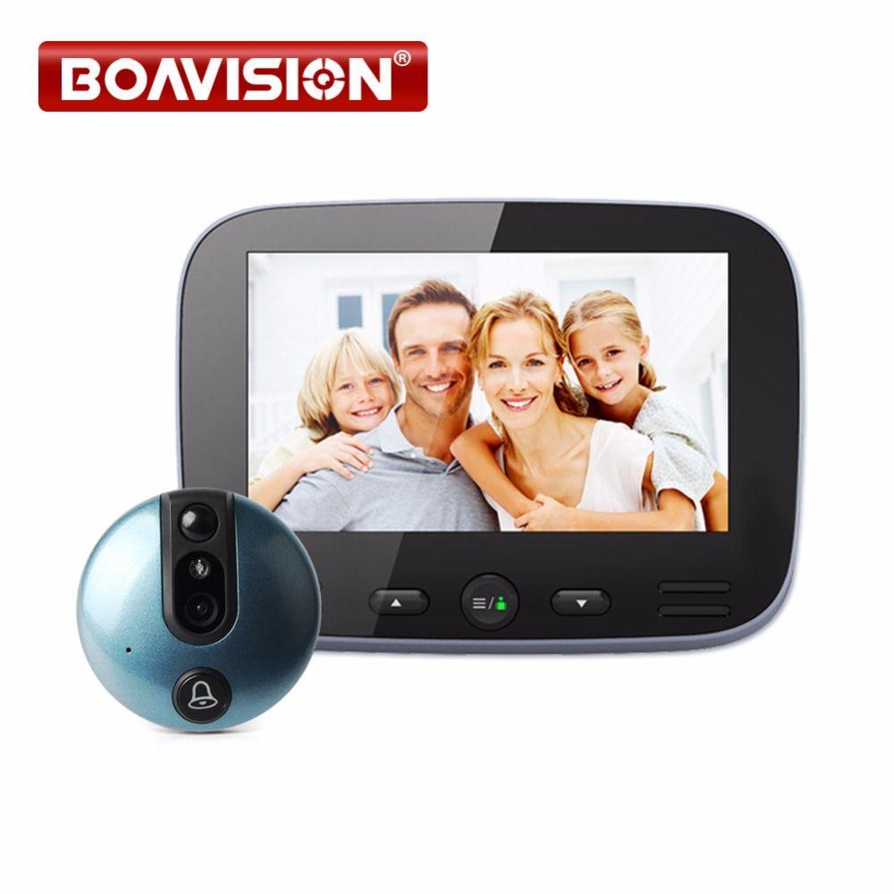 4.3 Inch Video Doorbell Zinc Alloy Video Door Phone 120 Degree 2MP Peephole Viewer PIR Night Vision Recording Photo Intercom