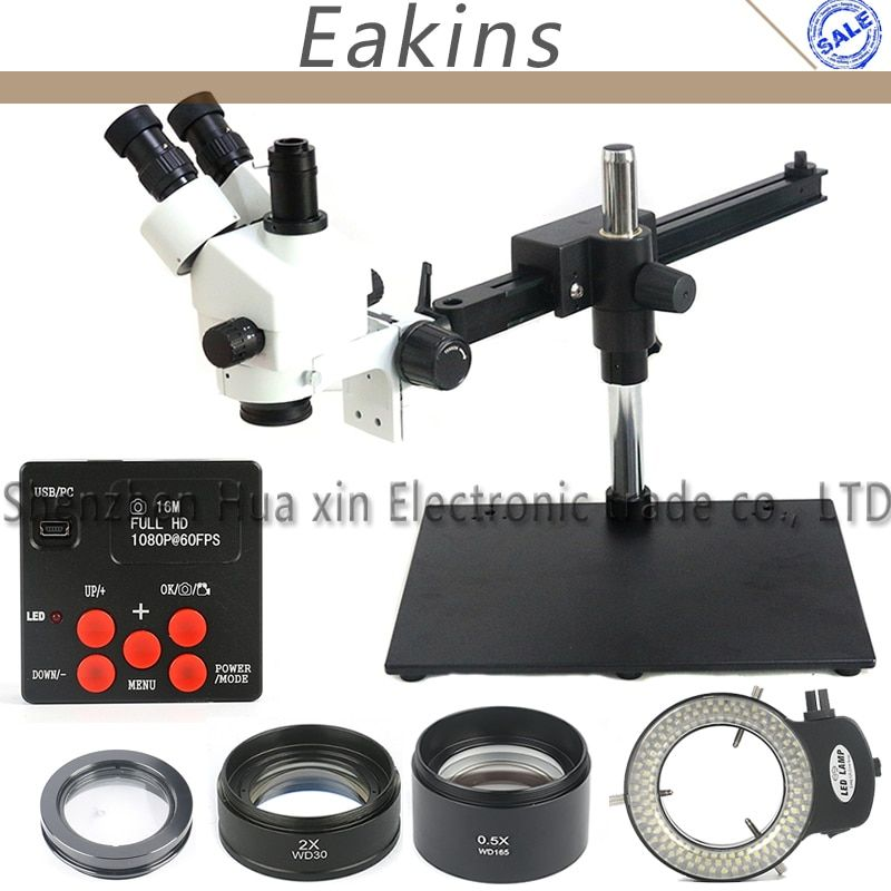 3.5X-90X Single Boom Guide Stereo Trinocular simul focal Microscope 1080P 16MP Video Camera 144 LED Ring Light Objective Lens