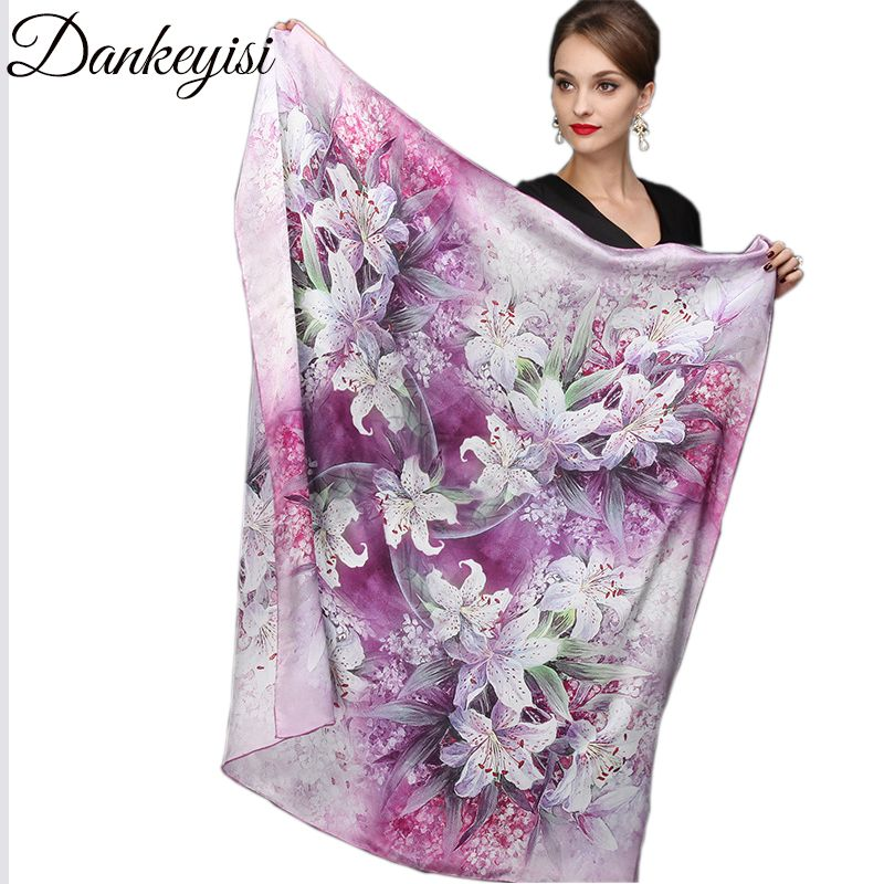 DANKEYISI 110*110cm 100% Silk Big Square Silk Scarves Fashion Floral Printed Shawl Sale Women Genuine Natural Silk Scarf Shawl