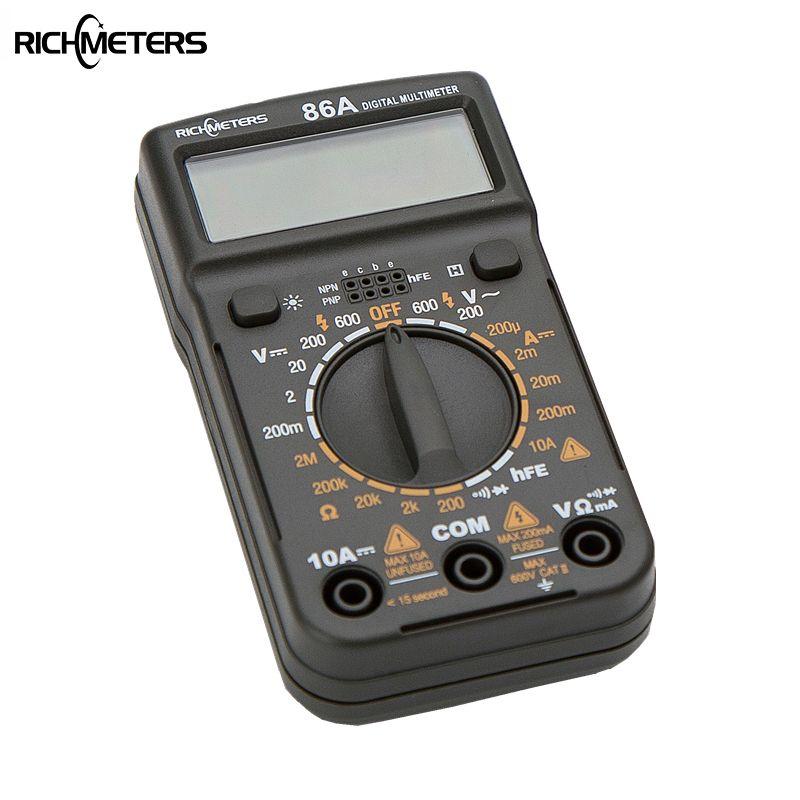 86A Poche Taille mini multimètre numérique HFE Rétro-Éclairage AC/DC Ampèremètre Voltmètre Ohm Testeur Électrique Portable 1999 compte Mètre