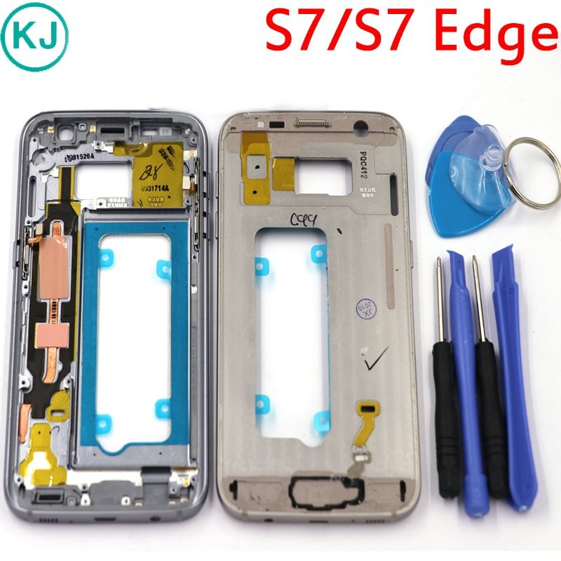 New S7 Edge Middle Frame For Samsung Galaxy S7 G930F G935F Metal Mid Plate Housing Bezel Chassis With All Small Parts