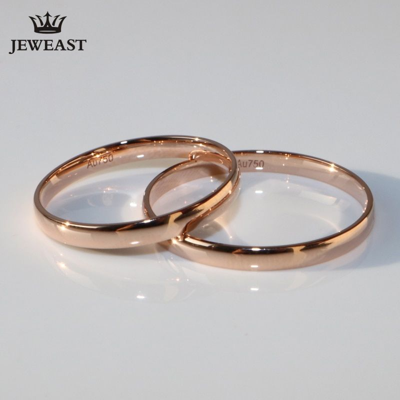 18K Rose Gold White pure Gold lover couple ring male female smooth Tail Ring party wedding Lettering free Support Customization