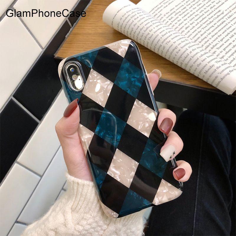 GlamPhoneCase Fritillaria Diamond Lattice Phone Case For iphone XS Max XR XS 8 8plus 7 7plus 6/6S Plus Fashion Soft Back Cover