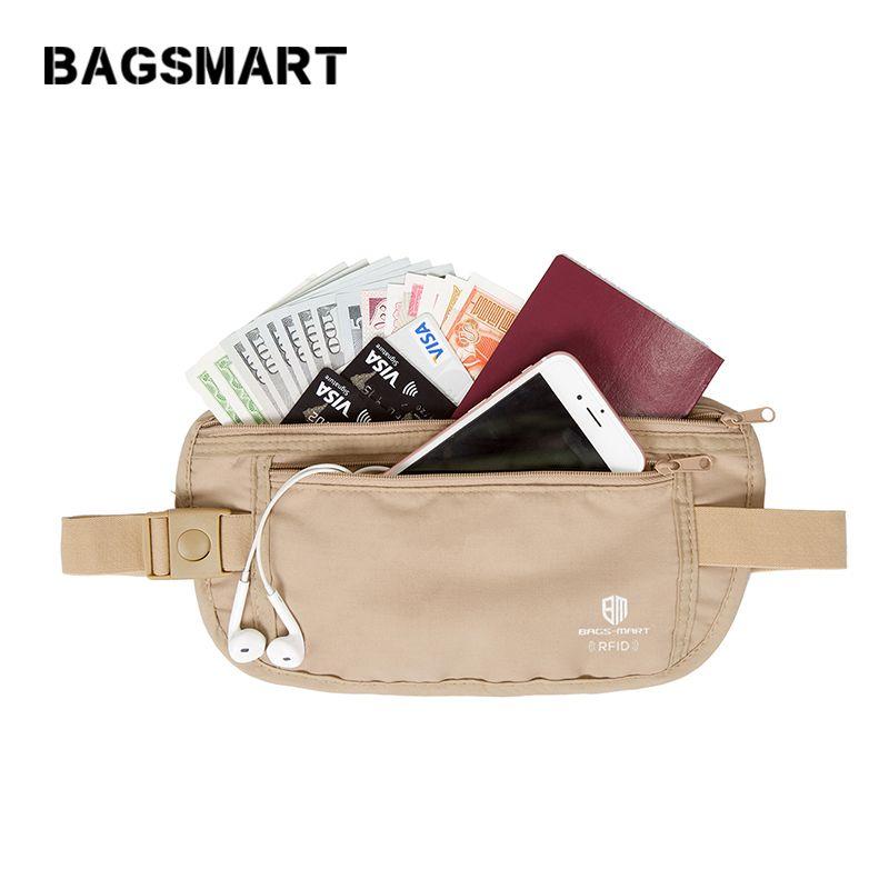 BAGSMART RFID taille sac de haute qualité voyage taille poche ceinture portefeuille sacs protège-passeport changement sangle de sécurité