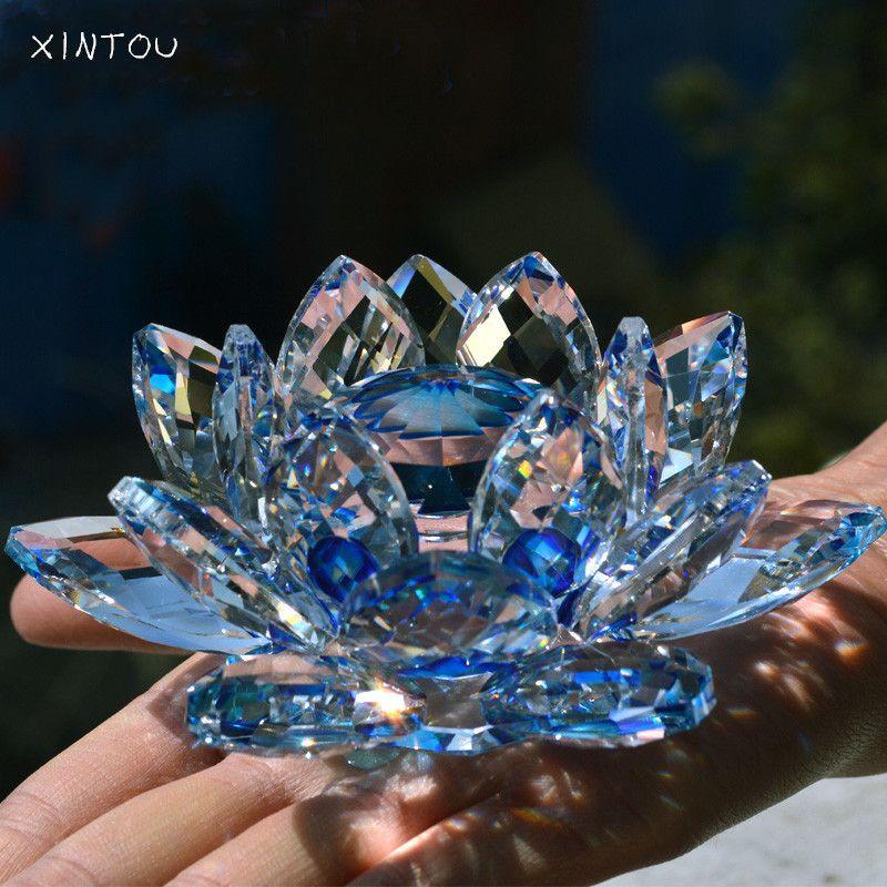 Искра Кристалл Стекло оттенок отражение цветок лотоса ремесло фэн-шуй свадебные искусственные цветы украшение дома с подарочной коробке 9 ...