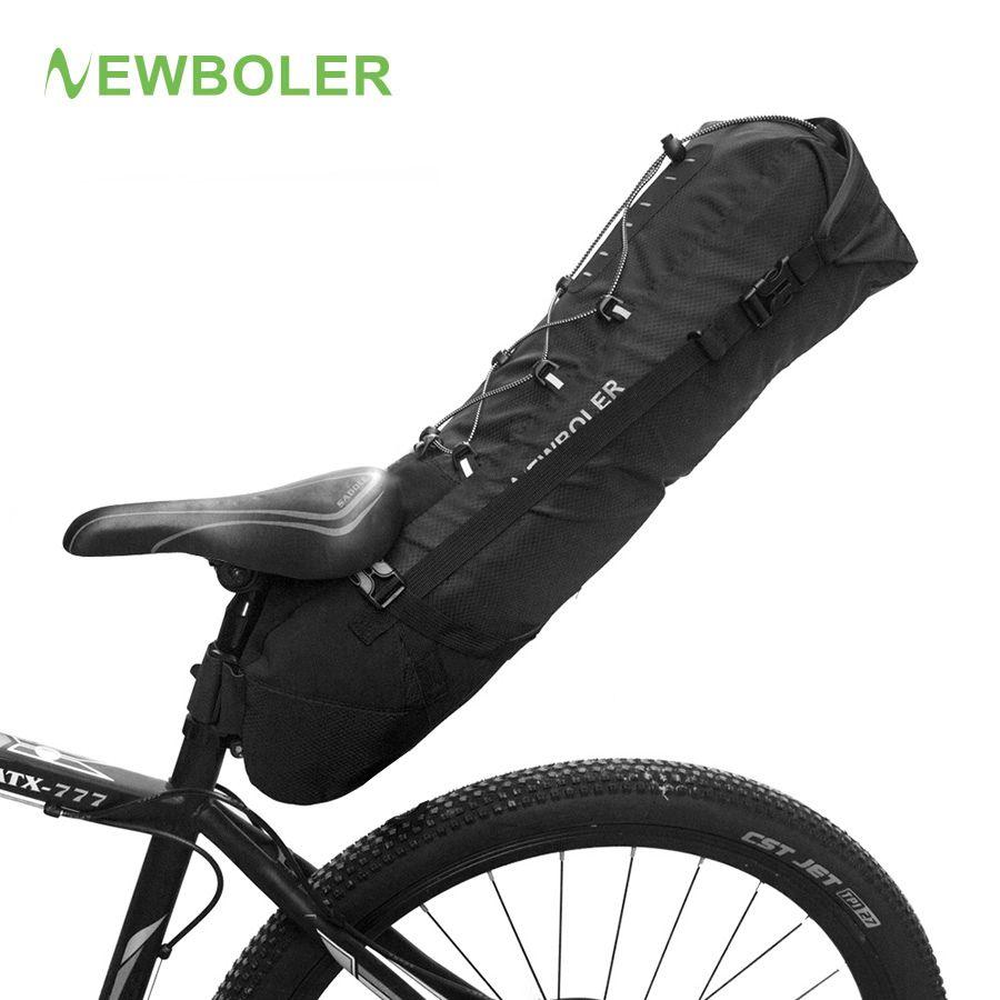NEWBOLER Waterproof Bike Saddle Bag Large Bicycle Tail Seat Bags TPU + Polyester Cycling Rear Panniers Bike Accessories 12L Max