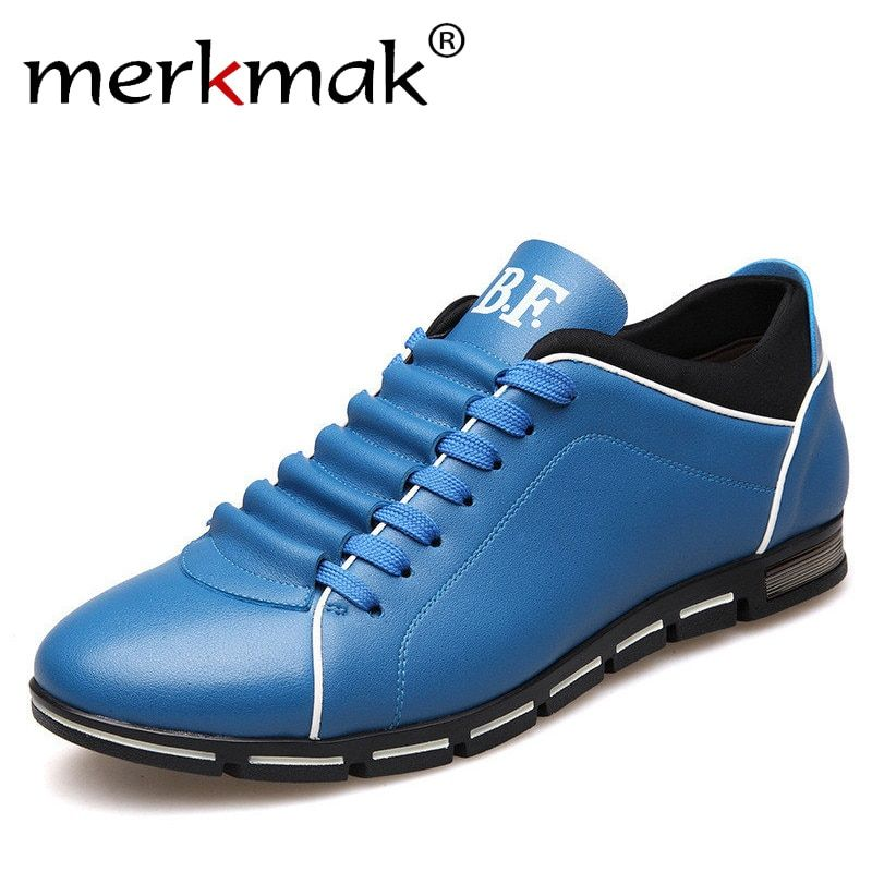 Merkmak Big <font><b>Size</b></font> 38-48 Men Casual Shoes Fashion Leather Shoes for Men Summer Men's Flat Shoes Dropshipping