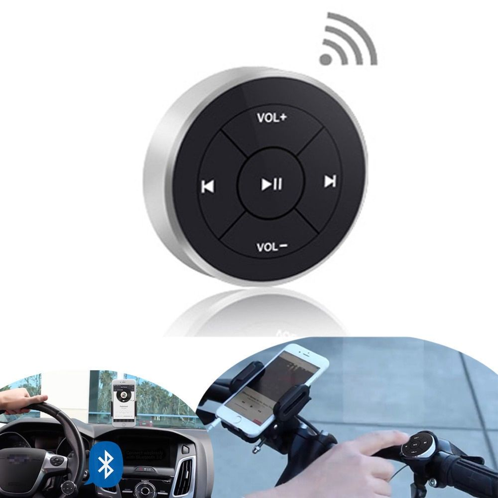 Hot Wireless Bluetooth Remote Control Media Button for Car Steering Wheel Motorcycle Bike <font><b>Handlebar</b></font> for iPhone 5 6 7 for Samsung