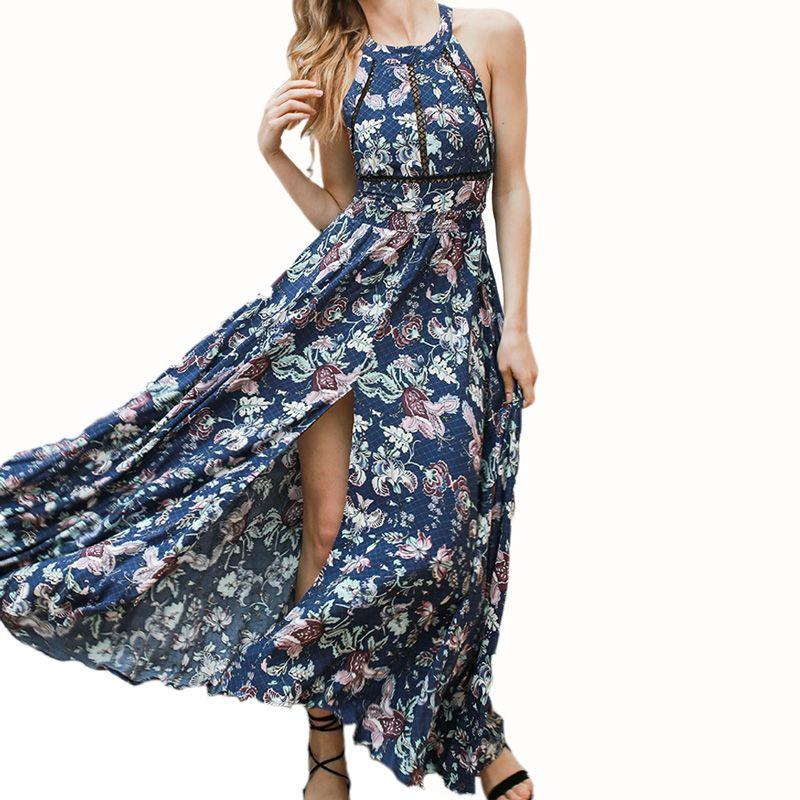Boho Split Backless Summer Floral Beach Dress Halter Neck Sleeveless Long Elegant Robe Sexy Maxi Womes Dresses Female Vestidos