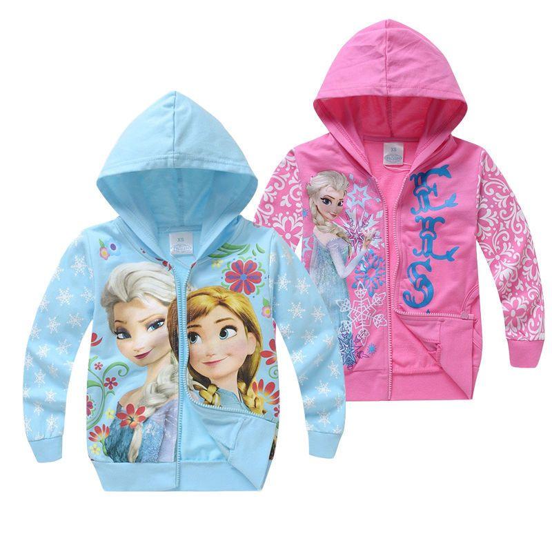 Cute Elsa Anna Hoodies For Girls Kids Sweatshirts Long Sleeve Zipper Jacket Spring Autumn Children Clothing Hooded 2-8 Years