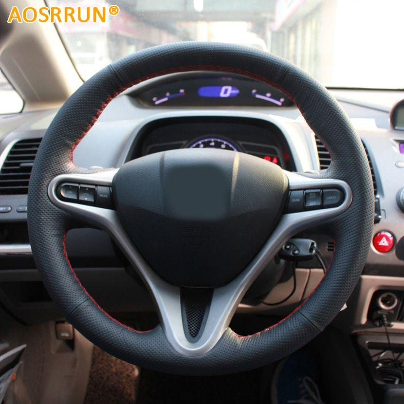 AOSRRUN couvre-volant de voiture cousu main en cuir pour Honda Civic 2005-2011 8th MK8 accessoires de voiture