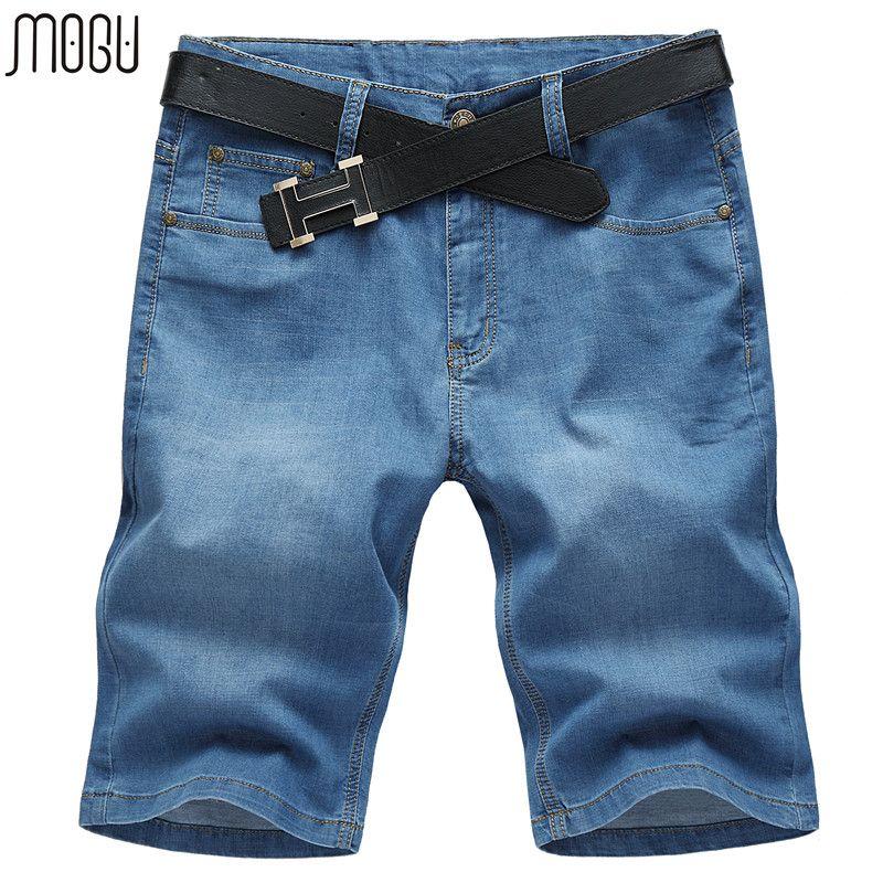 Mogu джинсовые шорты для мужчин 2017 Лето Новое поступление повседневные шорты высококачественные мужские середине талии шорты джинсы плюс ра...