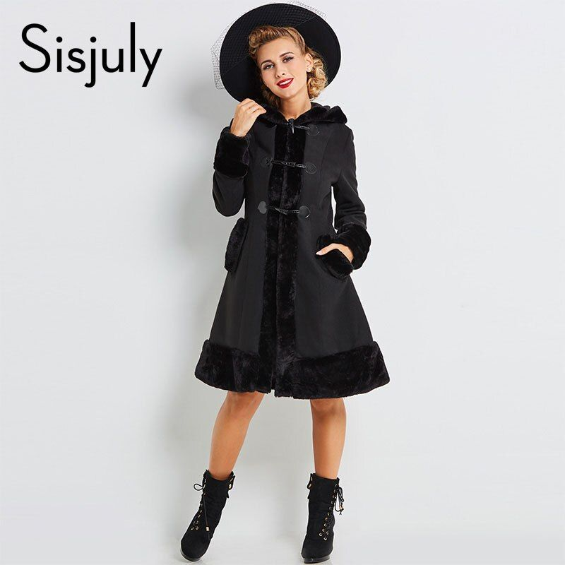 Sisjuly women european winter coats gothic long sleeve single breasted slim black hooded coat autumn solid jacket overcoats hot