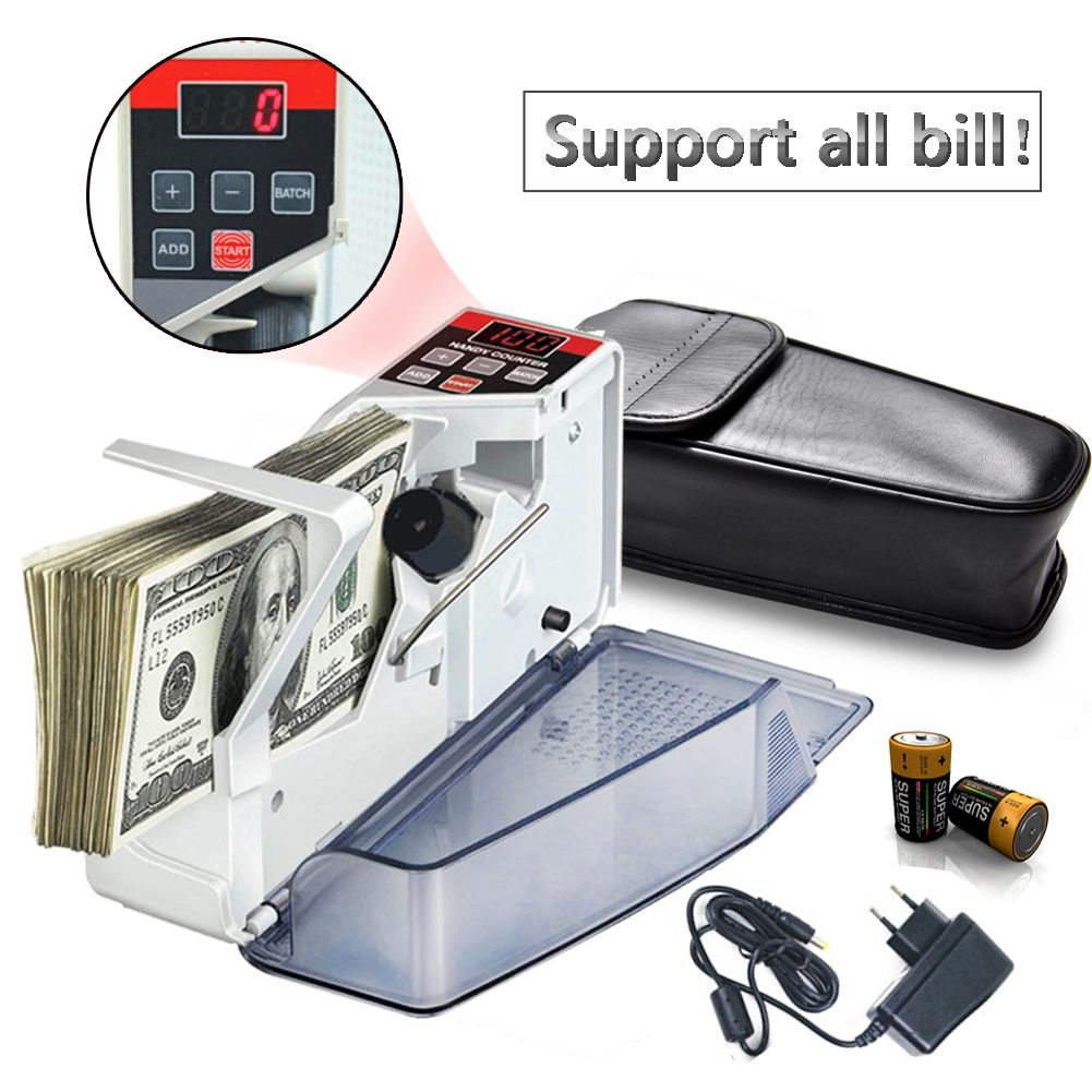 Mini Portable Handy Cash Money Currency Counters for Most Currency Note Al Bill Cash Counting Machine EU-V40 Financial Equipment