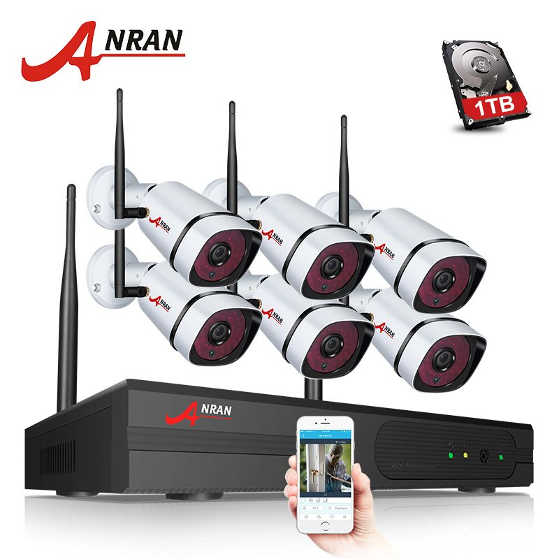 ANRAN Plug Play P2P 1080P 6CH WIFI NVR Kit Outdoor 36 IR Night Video 6PCS 2.0MP Wireless IP Camera Security System Hard Disk