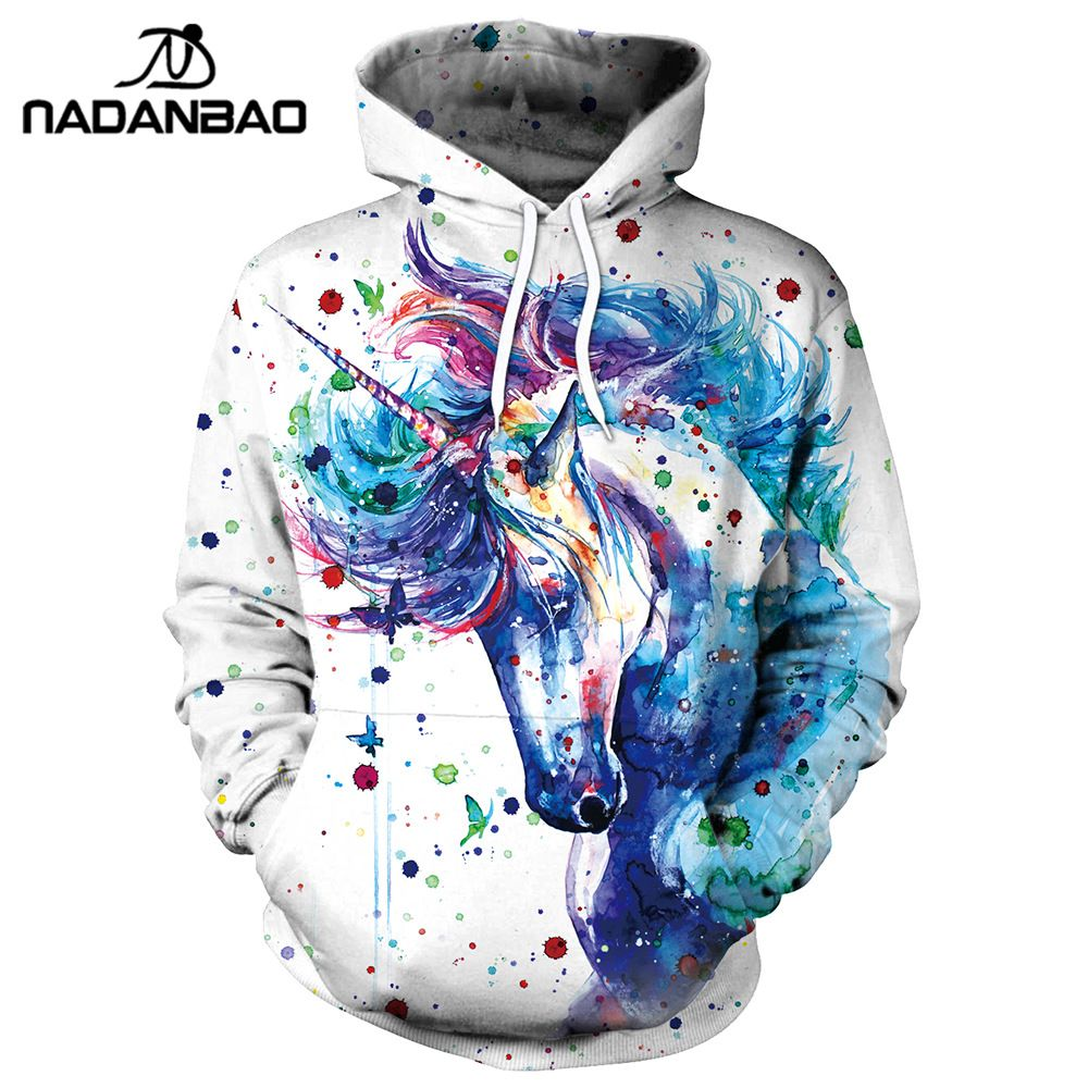 NADANBAO Brand Winter Women Sweatshirt Unicorn 3D Printed Cartoon Hoodies Pullovers Colorful Ink Splashi Hoodie Sweatshirts