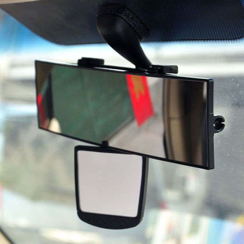 28+7cm Universal Car Mirrors Interior Auxiliary Rear View Mirror Removable Clip-on Auto Enlarge Angle Rearview Mirrors Black