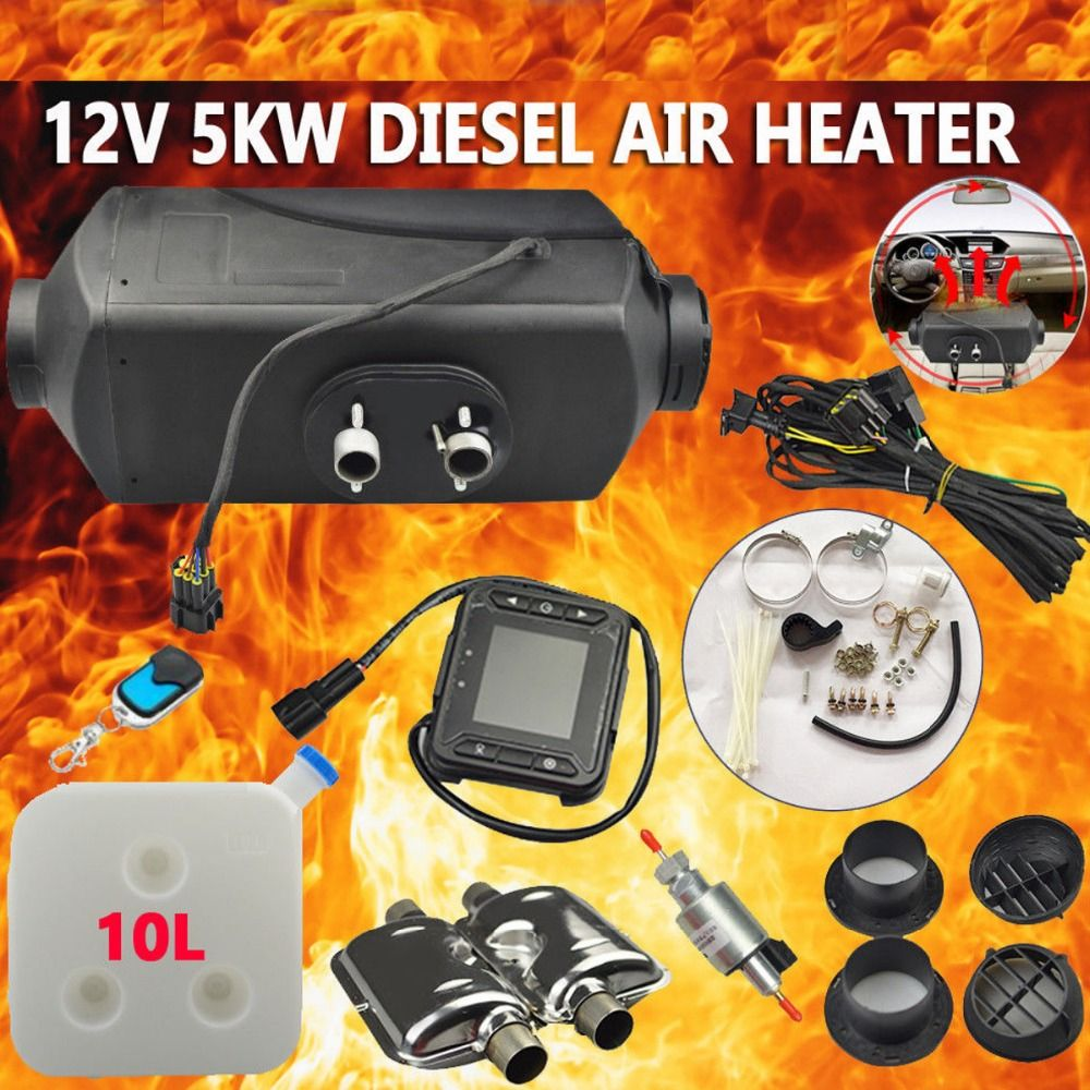 12V 5000W LCD Monitor Air diesels Fuel Heater 5KW For Trucks Boats Bus Car Heater Exhaust Silencer For free