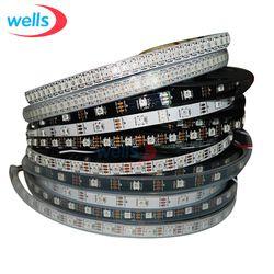 DC5V WS2812B синхро-адаптер длиной 1 м/4 м/5 м 30/60/74/96/144 пикселей/светодиодов/m Smart led пикселей полосы, черный/белый печатных плат, WS2812 IC; WS2812B/M, IP30/IP65/IP67