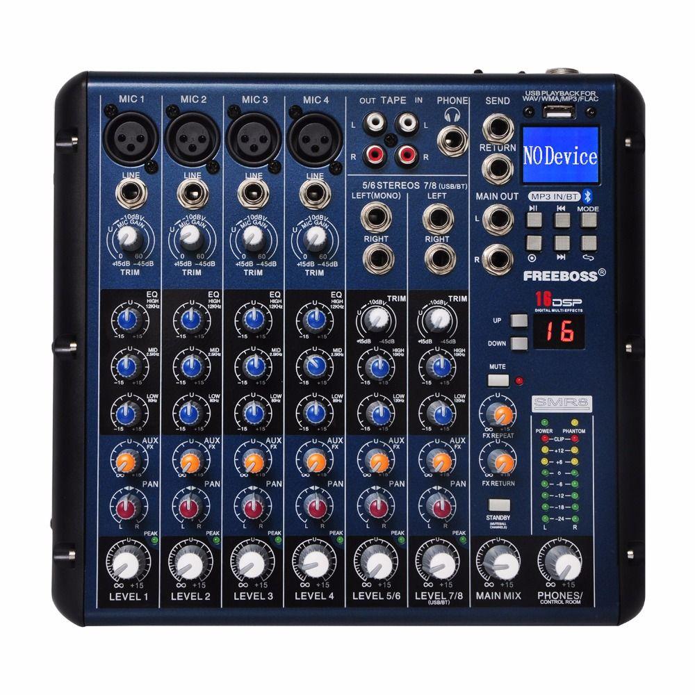 Freeboss SMR8 Bluetooth USB Record 8 canaux (4 Mono + 2 stéréo) 16 DSP église école karaoké partie USB DJ mélangeur