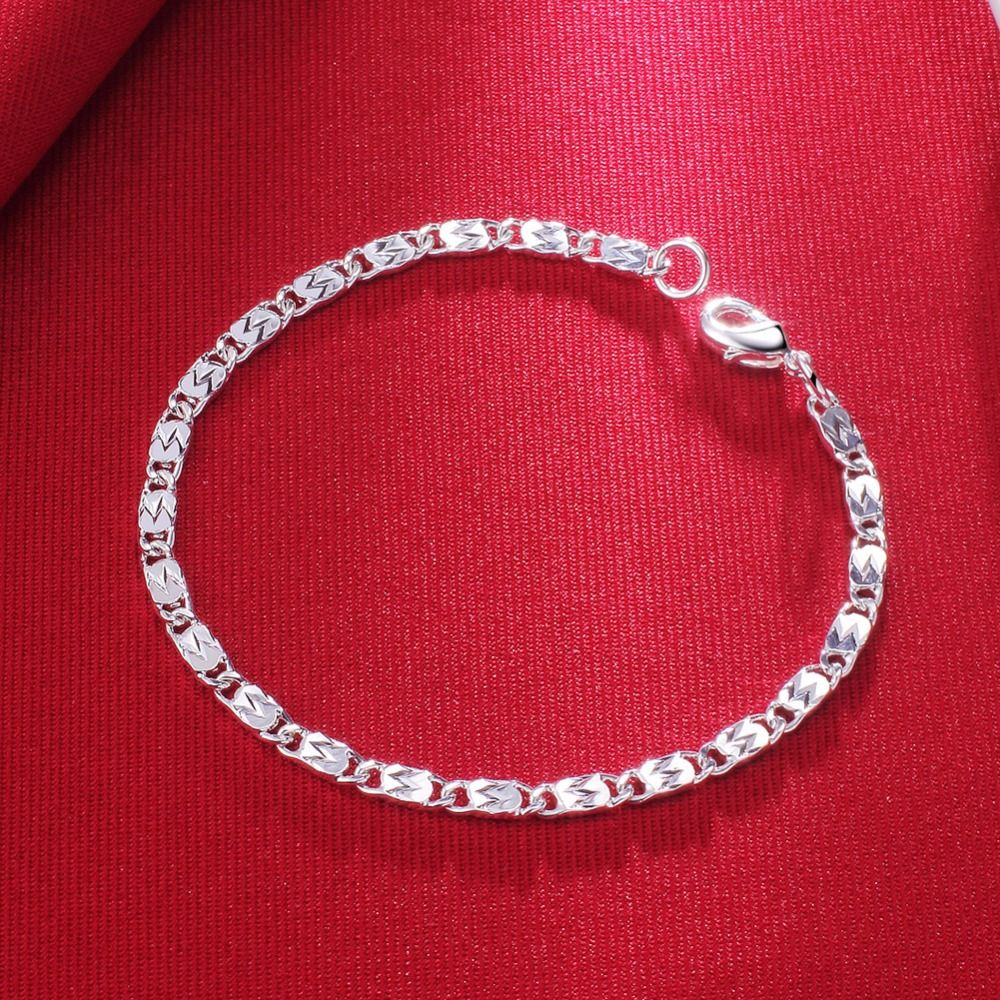 CAB9 for NLNL customer send with bag 925 silver women and man bracelet with ball size about 17cm for women birthday gift