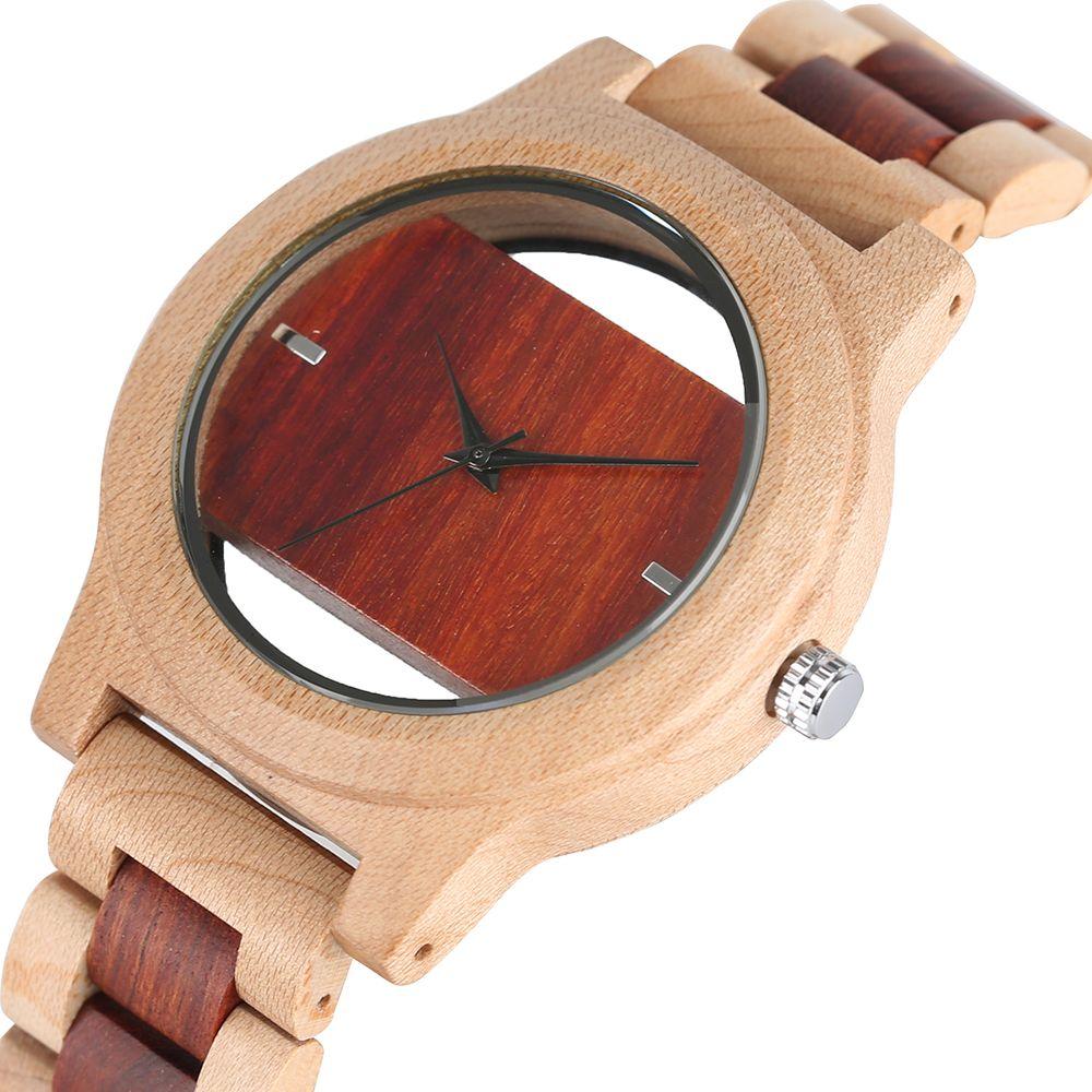 Montre à Quartz en bois de bambou de luxe pour hommes Bracelet analogique fait main creux montre-Bracelet de sport homme Simple reloj de hombre 2019