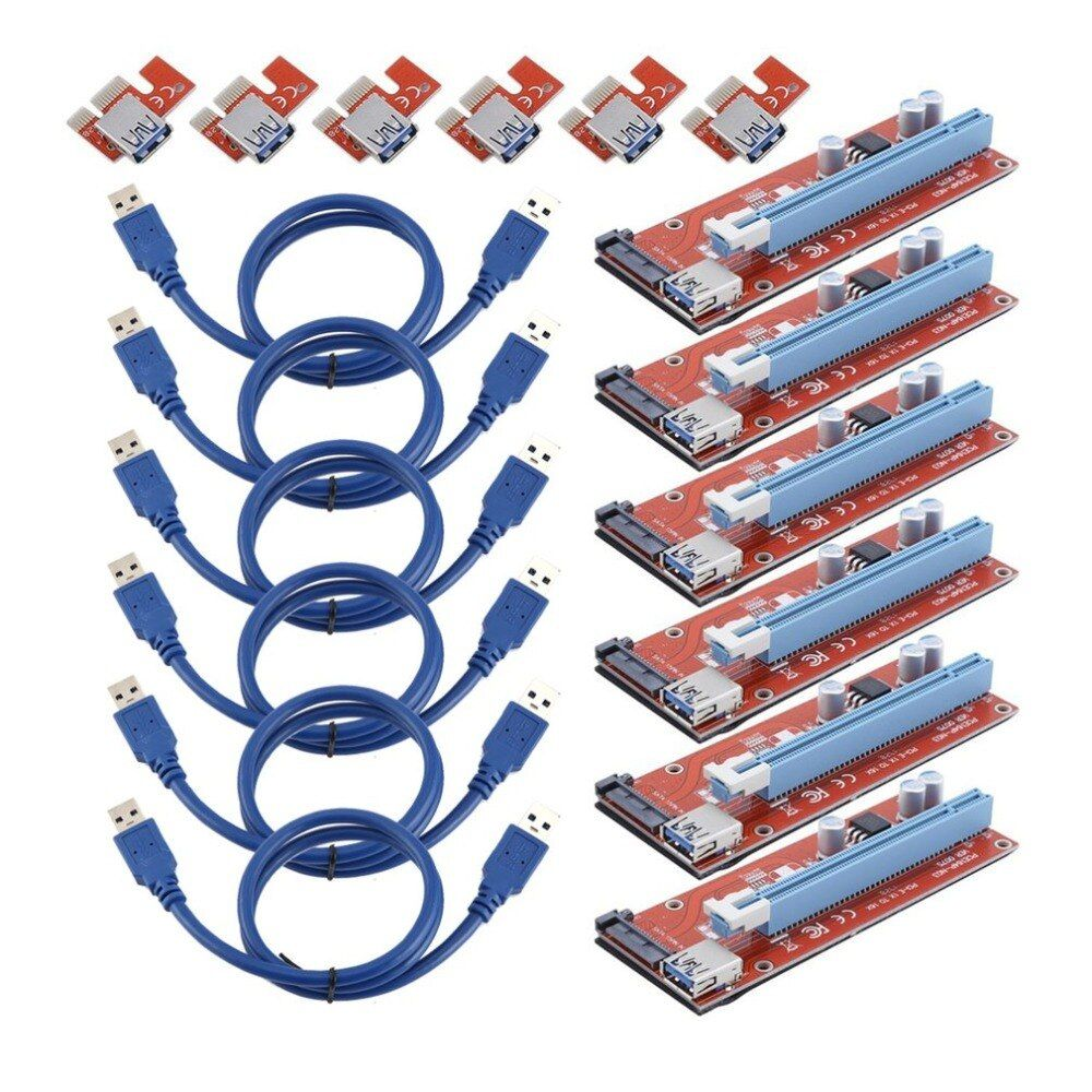 6 Sets 15 Pin PCI-E Express 1x To 16x Extend Cord For BTC Miner Machine Portable BTC Riser Card PCI Express Riser Card