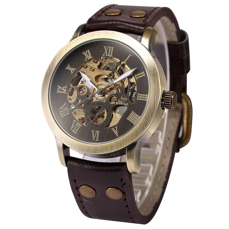 SHENHUA Vintage Design Male Clock Skeleton <font><b>Dial</b></font> Relogios Auto Mechanical Men's Wrist Watches Casual horloges mannen