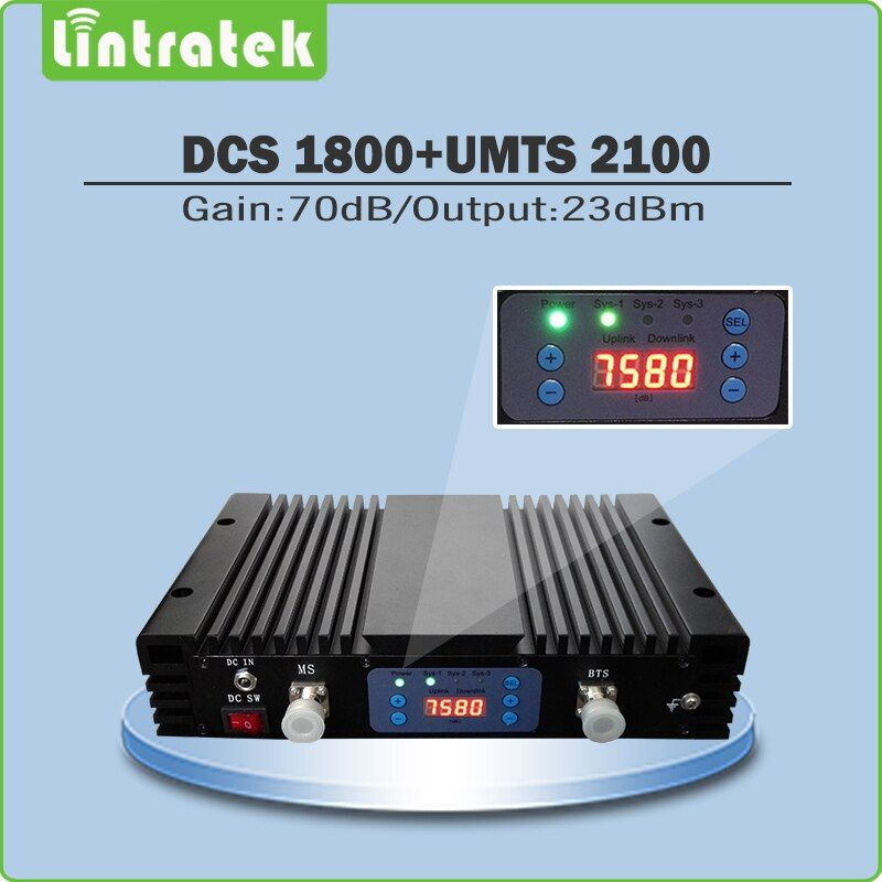 High Gain 70dB Handy-Signal-Repeater DCS1800Mhz 3G WCDMA 2100 Mhz Dual-Band-Signal Booster mit lcd display und AGC/MGC @ 75