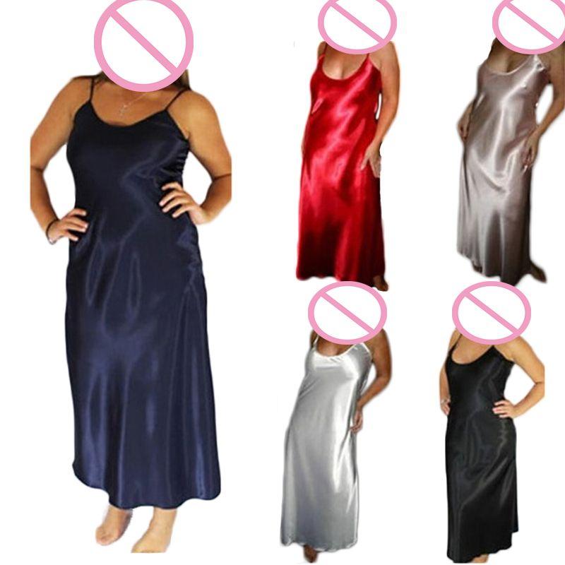 ENGAYI Plus Taille 5 Couleurs Femmes Long De Nuit Faux Soie Satin Nuit Robe Filles vêtements de Nuit chemise de Nuit Chemise de Nuit La Nuit Vers Le Bas B276