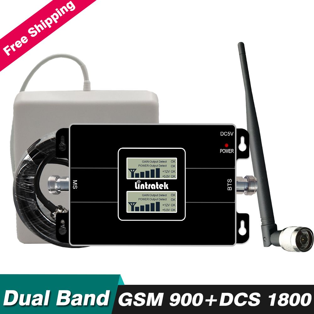 65dB Gain Dual Band Repeater 2g GSM 900 4g DCS LTE 1800 mhz Handy Signal Booster Cellular verstärker Set mit Antenne Kabel