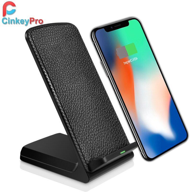 CinkeyPro QI Wireless Charger for iPhone X 8 10 Samsung S6 S7 S8 2-Coils Charging Stand Pad 5V/1A Adapter Charge Holder