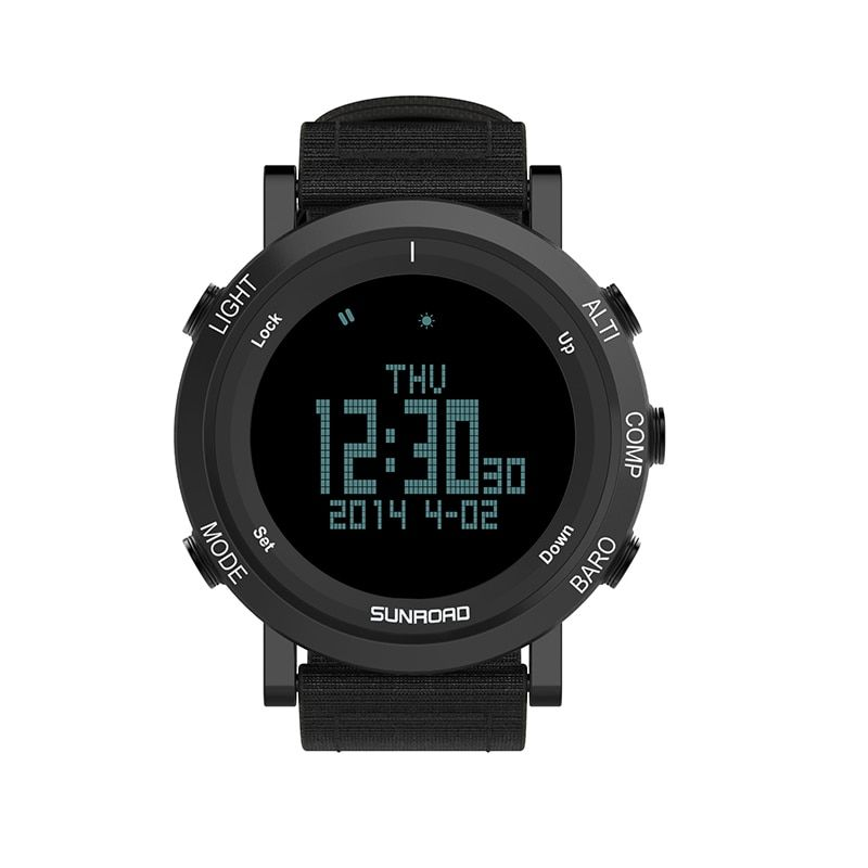 SUNROAD 2018 New Arrival Outdoor Men Sports Watch FR851 Altimeter Barometer Compass Pedometer Sport Men Watch With Nylon Strap