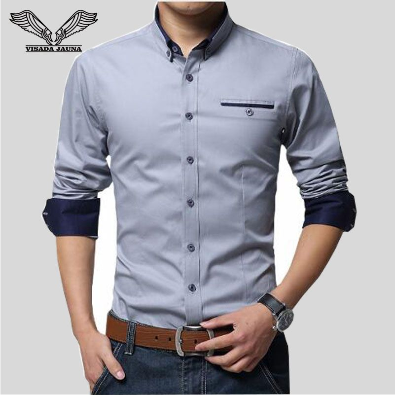VISADA JAUNA 2017 New Men Shirts <font><b>Business</b></font> Long Sleeve Turn-down Collar 100% Cotton Male Shirt Slim Fit Popular Designs N837