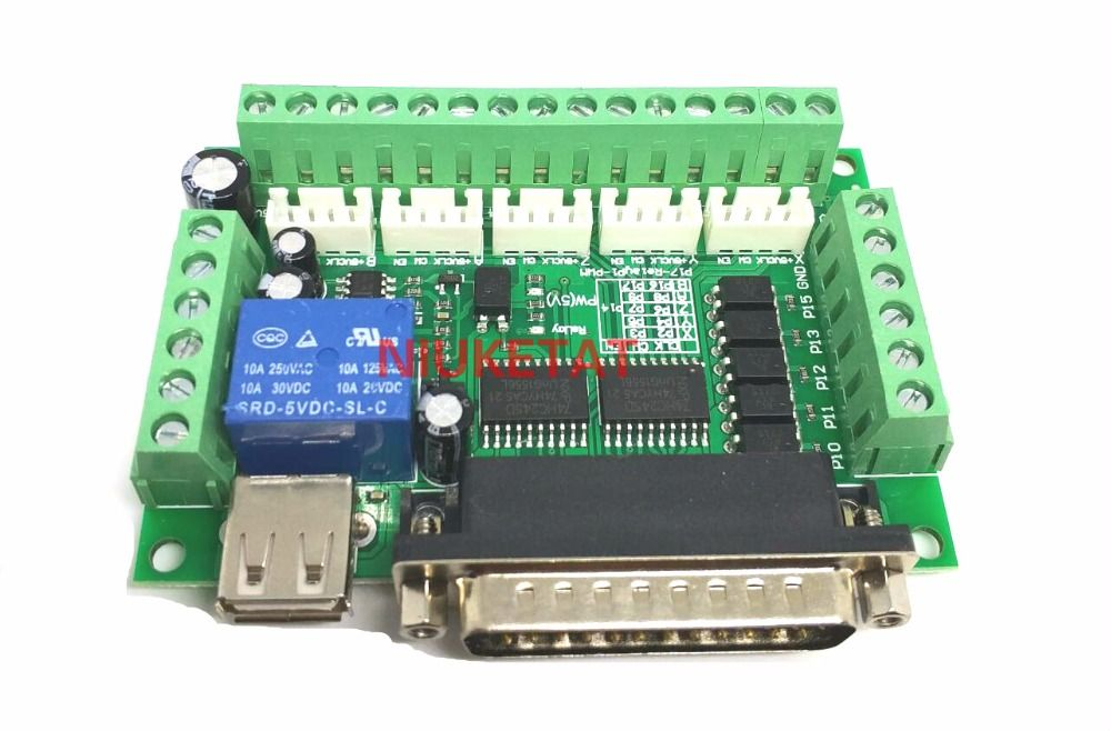 1pcs MACH3 Engraving machine 5 Axis CNC Breakout Board With Optical Coupler For Stepper Motor drive controller no with USB cable