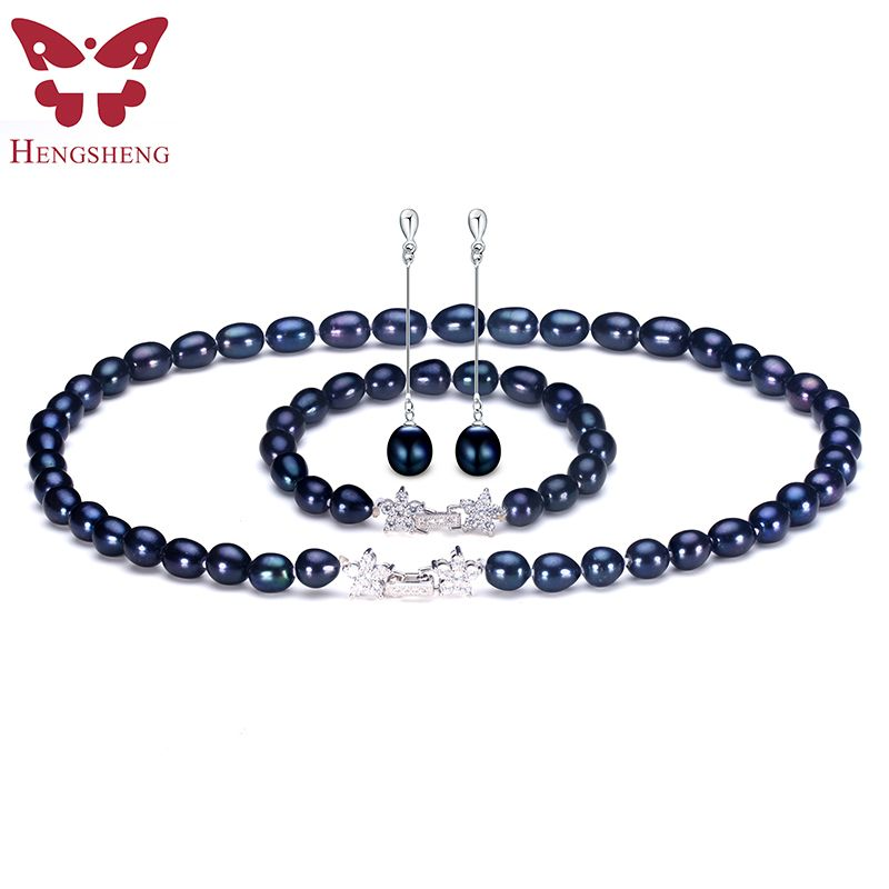Natural Black Pearl Jewelry Sets For Women,Fashion Jewelry Dangle Earrings&Bracelet&Necklace,Rice Shape 8-9mm Pearl Star Zircon
