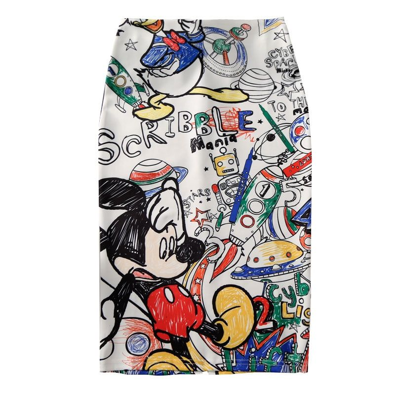 Femmes jupe crayon 2019 nouveau dessin animé souris imprimer taille haute Slim jupes jeune fille été grande taille japon femme Falda SP534