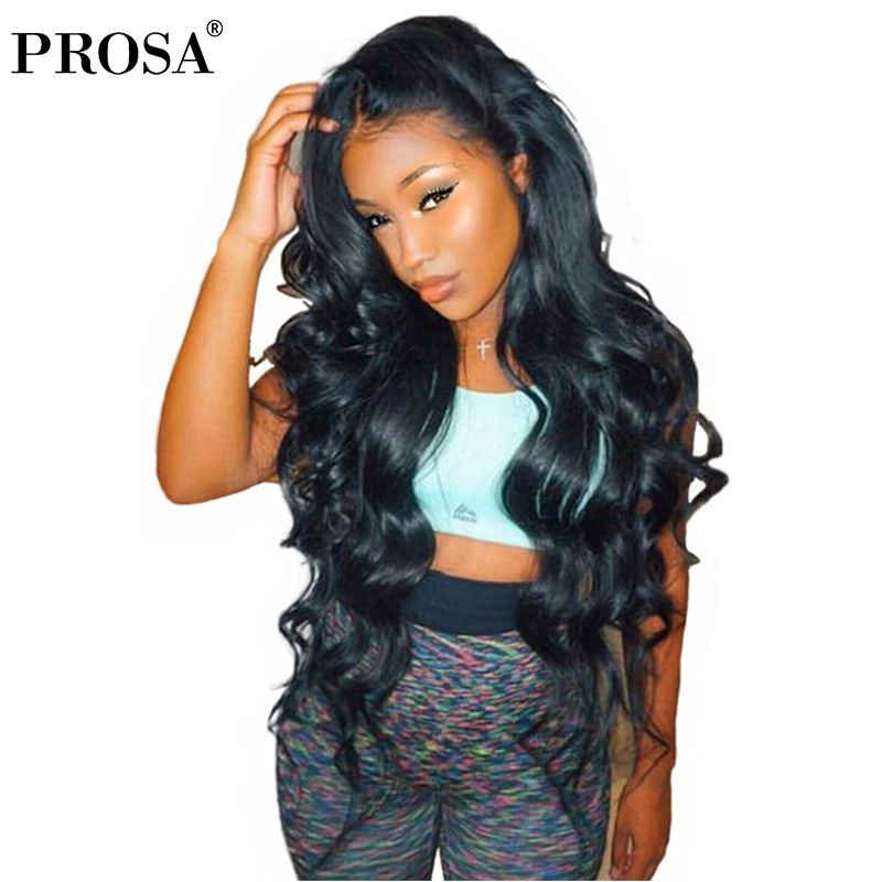 Lace Front <font><b>Human</b></font> Hair Wigs For Women Black Body Wave 13X4 Lace Wig Full Thick 250 Density Brazilian Lace Front Wig Remy Prosa